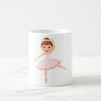 Bailarín de la bailarina con el pelo marrón taza