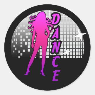 Bailarín de la bola de discoteca pegatina redonda