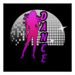 Bailarín de la bola de discoteca póster
