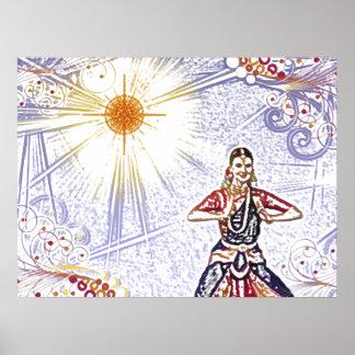 Bailarín de la India con Sun (lápiz coloreado) Póster