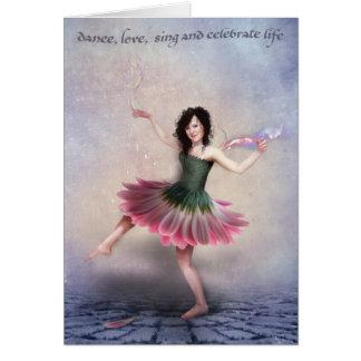 bailarín de la margarita con el sentimiento tarjeta de felicitación