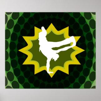 Bailarín de la rotura con el fondo retro póster
