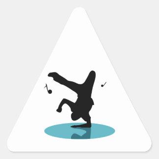 Bailarín de la rotura pegatina triangular