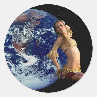 Bailarín de la tierra pegatina redonda