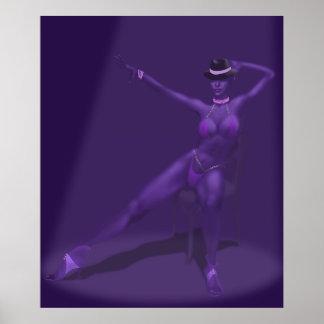 Bailarín del cabaret en el proyector - poster