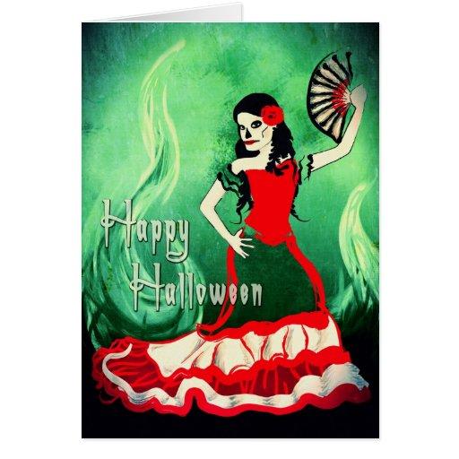 bailarín del español del feliz Halloween Tarjeta De Felicitación