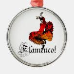 Bailarín del flamenco adorno redondo plateado