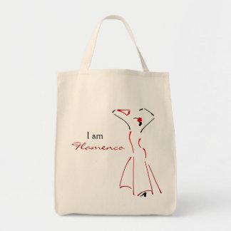 Bailarín del flamenco con lema adaptable bolsa tela para la compra