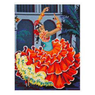 Bailarín del flamenco en postal del color