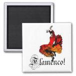 Bailarín del flamenco imán cuadrado