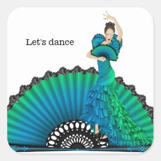 Bailarín del flamenco calcomanía cuadrada