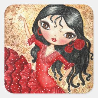 """Bailarín del flamenco "" Pegatina Cuadrada"