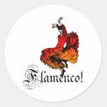 Bailarín del flamenco pegatina redonda