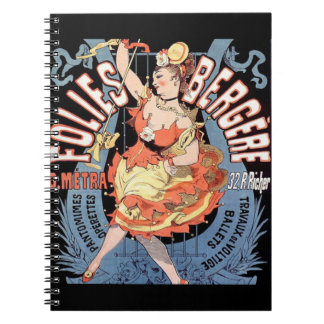 Bailarín del francés del vintage libro de apuntes con espiral