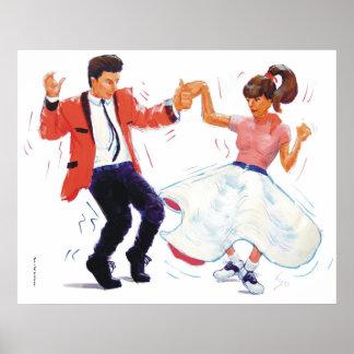 bailarín del oscilación con los zapatos de la fald impresiones