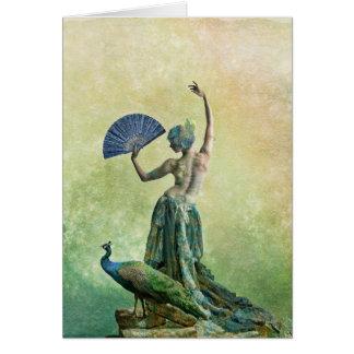 Bailarín del pavo real tarjeta de felicitación