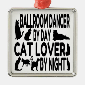 Bailarín del salón de baile del amante del gato adorno navideño cuadrado de metal