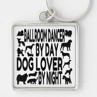Bailarín del salón de baile del amante del perro llavero cuadrado plateado