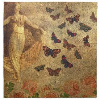 Bailarín del vintage con partitura y mariposas servilleta imprimida