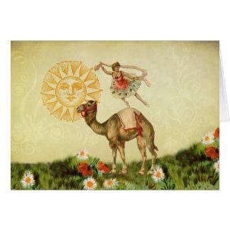 Bailarín del vintage en un camello felicitaciones