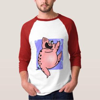 Bailarín divertido chistoso del cerdo del dibujo playera