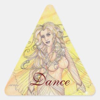 Bailarín en la luz pegatina triangular