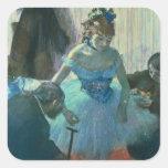 Bailarín en su vestuario pegatinas cuadradases personalizadas