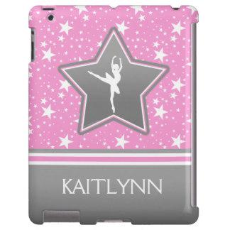 Bailarín entre las estrellas en rosa con SU NOMBRE Funda Para iPad