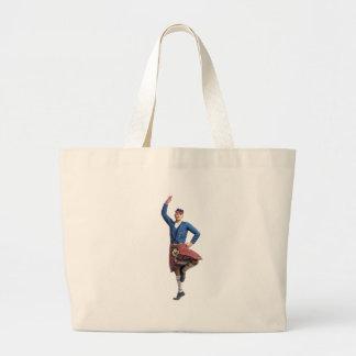 Bailarín escocés con la mano derecha para arriba bolsa de tela grande