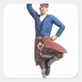 Bailarín escocés con la mano derecha para arriba pegatina cuadrada
