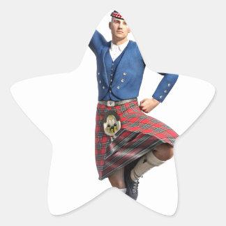 Bailarín escocés con la mano derecha para arriba pegatina en forma de estrella