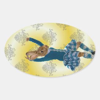 Bailarín escocés de la montaña del conejo lindo pegatina ovalada