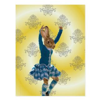 Bailarín escocés de la montaña del conejo lindo postal