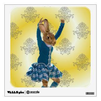 Bailarín escocés de la montaña del conejo lindo vinilo adhesivo