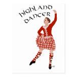 Bailarín escocés de la montaña en rojo postales