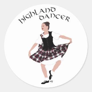 Bailarín escocés del país pegatina redonda