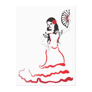 bailarín español del cráneo del azúcar rojo blan impresión de lienzo