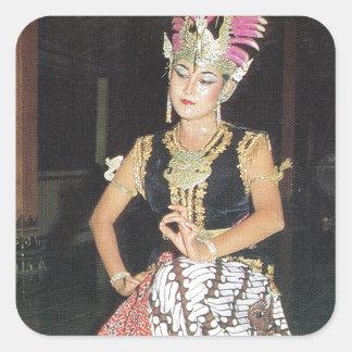 Bailarín exótico de Golek del indonesio Pegatina Cuadrada