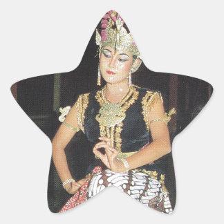 Bailarín exótico de Golek del indonesio Pegatina En Forma De Estrella