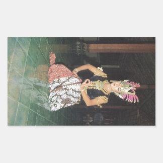 Bailarín exótico de Golek del indonesio Pegatina Rectangular