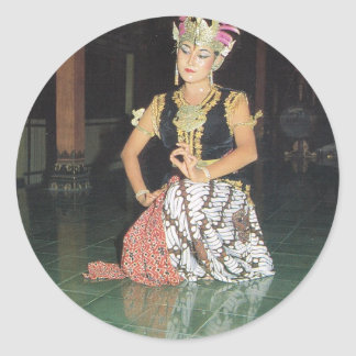 Bailarín exótico de Golek del indonesio Pegatina Redonda
