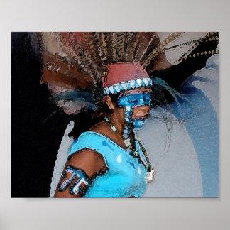 Bailarín-Femenino maya (acuarela) Póster