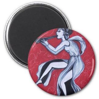 Bailarín griego imán redondo 5 cm