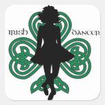 Bailarín irlandés Hardshoe/trébol del corazón de F Calcomanía Cuadradas Personalizadas