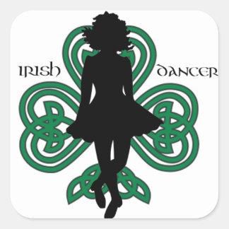 Bailarín irlandés Hardshoe/trébol del corazón de Pegatina Cuadrada