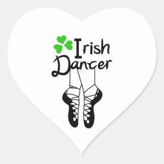 Bailarín irlandés pegatina en forma de corazón