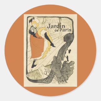 Bailarín Jane Avril, Toulouse Lautrec de Nouveau Pegatina Redonda