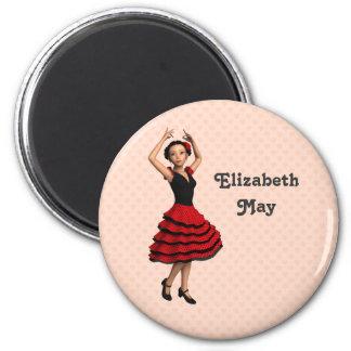 Bailarín lindo del flamenco (personalizado) imán redondo 5 cm