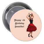 Bailarín lindo del flamenco (personalizado) pin