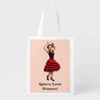 Bailarín lindo del flamenco personalizado bolsas para la compra